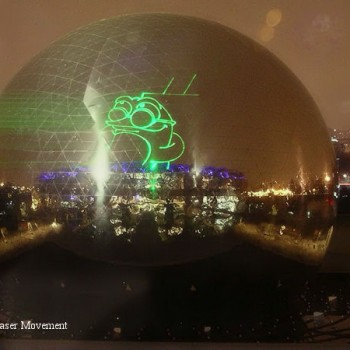 Projection laser sur la Géode